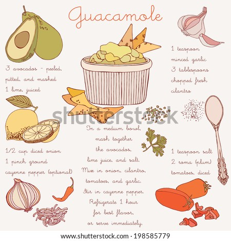 Bowl of guacamole with avocado, lime, tomato, and cilantro with tortilla chips. Recipe card. - stock vector