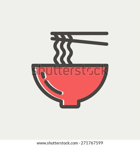 Bowl of noodles with a pair of chopsticks icon thin line for web and mobile, modern minimalistic flat design. Vector icon with dark grey outline and offset colour on light grey background. - stock vector