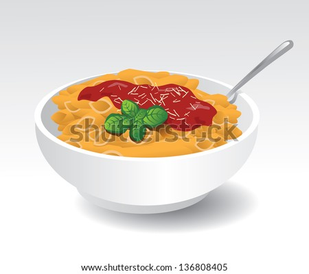 Bowl of pasta with tomato sauce and fresh basil. EPS 10 vector, grouped for easy editing. No open shapes or paths. - stock vector
