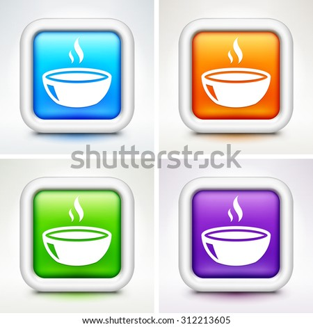 Bowl of Soup on Colorful Square Buttons