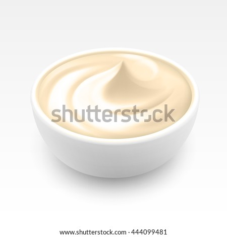 Bowl of Sour Sauce Mayonnaise Ice Cream Close up Isolated on White Background