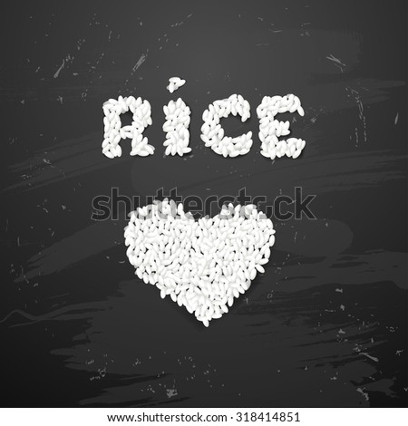 Bowl of white rice   on  blackboard - stock vector