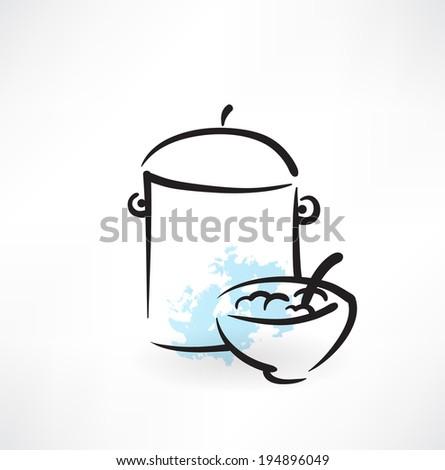 bowl pan icon - stock vector