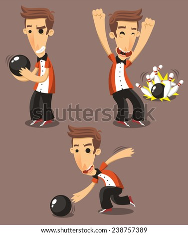 Bowler bowling Set, vector illustration cartoon.  - stock vector