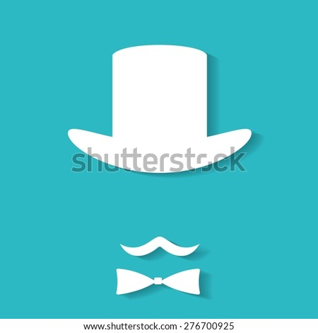 Bowler hat and moustache - stock vector