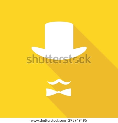 Bowler hat and moustache on long shadow - stock vector