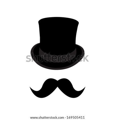 Bowler hat and mustache - stock vector