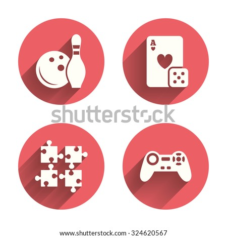 Bowling Casino Icons Video Game Joystick Stock Vector 324620567