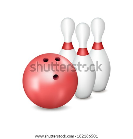 Bowling ball and pins. Composition on a white background. Gradient mesh used. - stock vector