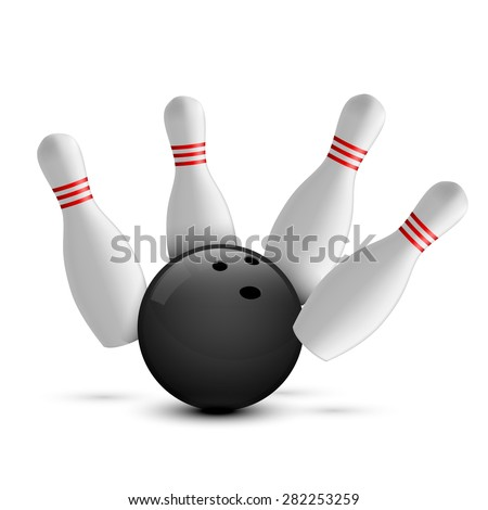 Bowling ball and scattered skittle - stock vector