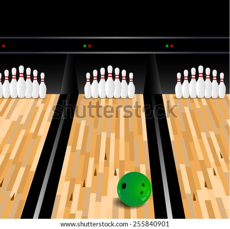 Bowling ball and skittle on wooden floor - stock vector