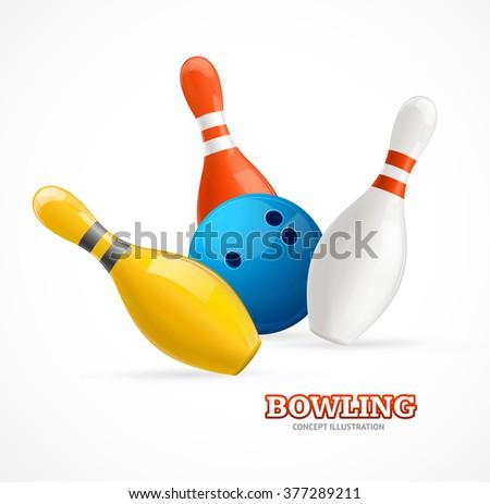 Bowling Ball Crashing Into Colorful Pins. Vector illustration - stock vector