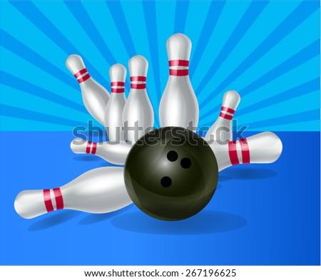 Bowling ball crashing into pins - stock vector