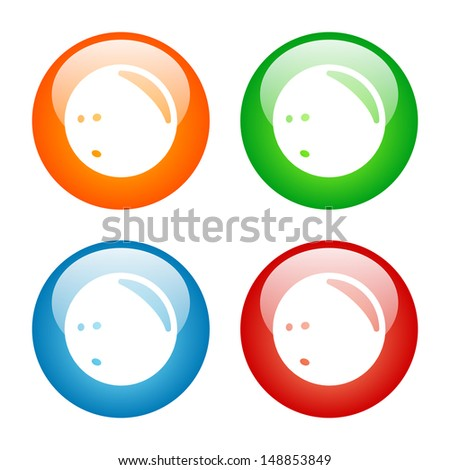 Bowling Ball Icon in Four Colors.  Vector format, colors can be easily adjusted.