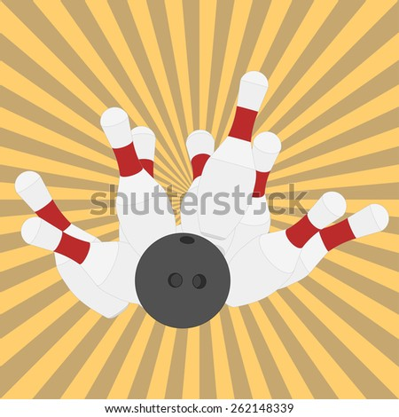 Bowling ball knocks down pins, strike, retro style, flat design - vectors - stock vector