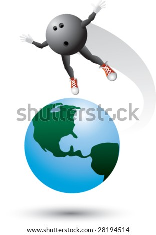 bowling ball man around the world - stock vector