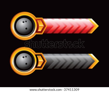 bowling ball on red and black arrows - stock vector