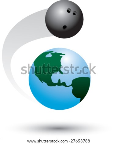 bowling ball orbits earth - stock vector