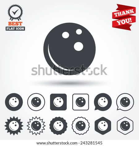 Bowling ball sign icon. Bowl symbol. Circle, star, speech bubble and square buttons. Award medal with check mark. Thank you ribbon. Vector