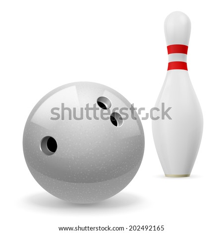 Bowling ball with holes in front of white skittle with red stripes on a white background - stock vector