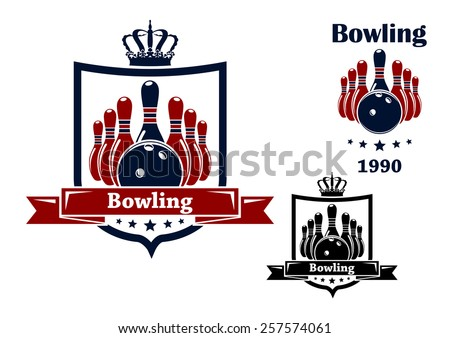 Bowling club emblem or symbol with royal crown, frame, ball, ninepins, ribbon and text isolated on white background - stock vector