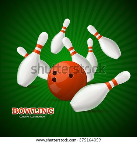 Bowling Concept. Sport Theme on Green. Vector illustration - stock vector