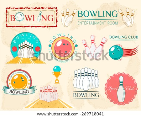 Bowling Design Set - Vector Illustration - stock vector