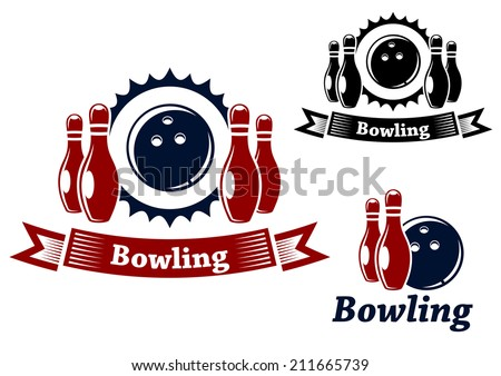 Bowling emblems and symbols set with ball and ninepins, suitable for sport logo and leisure design  - stock vector