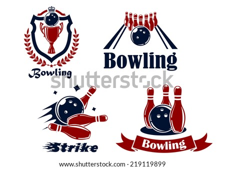 Bowling emblems or symbols showing bowling balls and ninepins, one in a shield with a wreath, and text Bowling or Strike in red and black in silhouette - stock vector