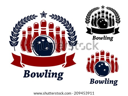 bowling emblems with ball, stars, ninepins and laurel wreath. Black and red isolated over white colored background . suitable for sport, logo and recreation  design  - stock vector