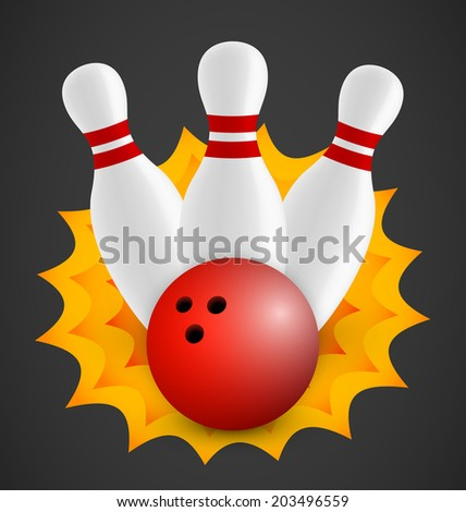 Bowling icon with three bowling pins and red ball - stock vector
