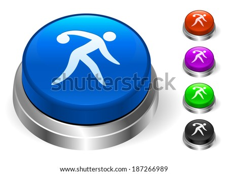 Bowling Icons on Round Button Collection - stock vector