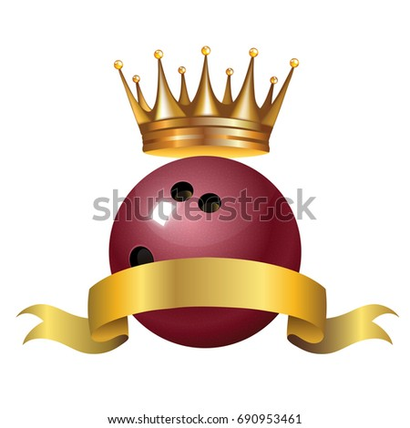 Bowling King Champion Symbol Golden Crown Stock Vector 690953461