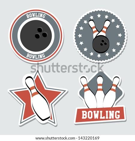 bowling labels over blue background vector illustration - stock vector