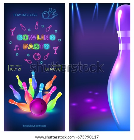 bowling party flyer template vector clip stock vector 673990117 shutterstock. Black Bedroom Furniture Sets. Home Design Ideas