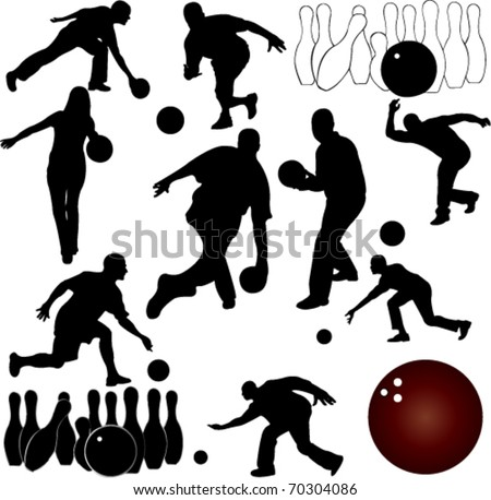 Bowling People Silhouettes Stock Vector 70304086