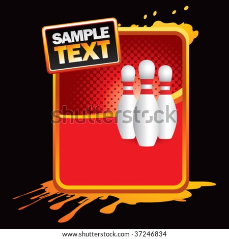 bowling pins on grungy splattered background - stock vector