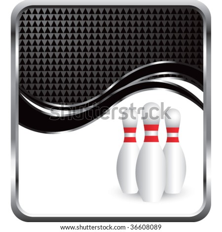 bowling pins on modern wave background - stock vector