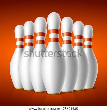 Bowling pins. Vector. - stock vector