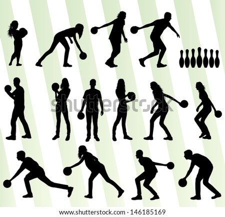 Bowling player silhouettes vector set background - stock vector