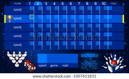 Bowling Score Sheet Template Tv Size Stock Vector