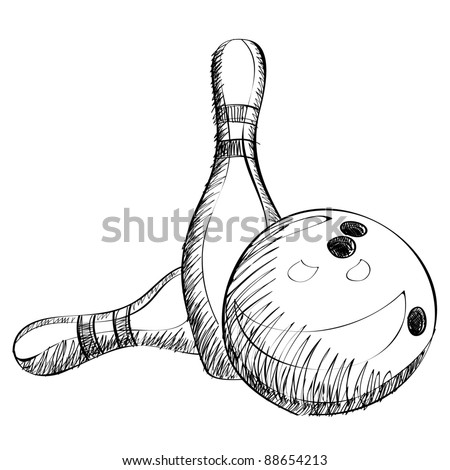 Bowling skittles and ball sketch vector illustration - stock vector