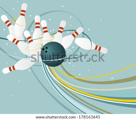 Bowling skittles scattering from impact of a ball. - stock vector