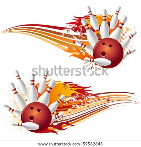 bowling sport element with flames - stock vector