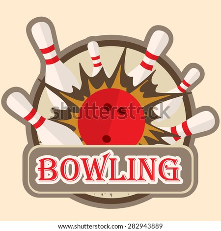 Bowling sport, logo, sign, symbol emblem with ball and pins - stock vector
