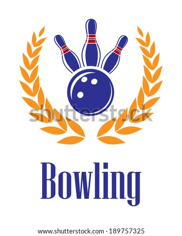Bowling sports elements in laurel wreath for sporting heraldry design - stock vector