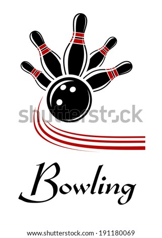 Bowling sports symbol or logo with flying ball and ninepins - stock vector