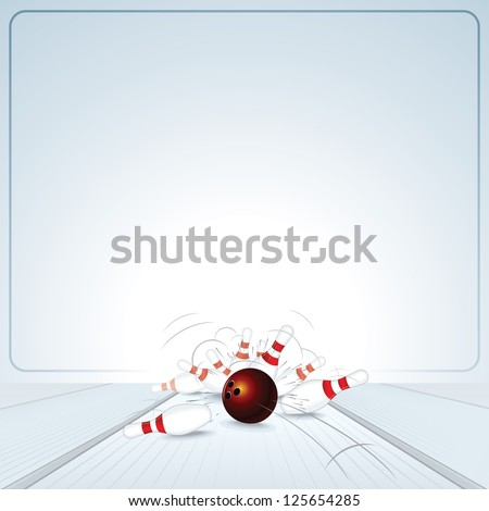 Bowling Strike Illustration. Bowling Ball Crashing into the Skittles. Image Ready for Your Text or Scoreboard. - stock vector