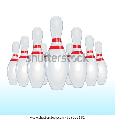 Bowling strike. Playing bowling. Skittles fly away. Red bowling ball. - stock vector