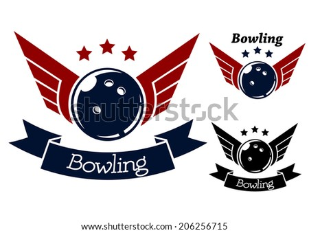 Bowling symbols with wings for sporting logo or heraldry design - stock vector